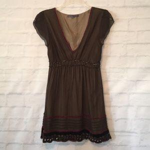 Hale Bob brown and velvet V neck top blouse sz M
